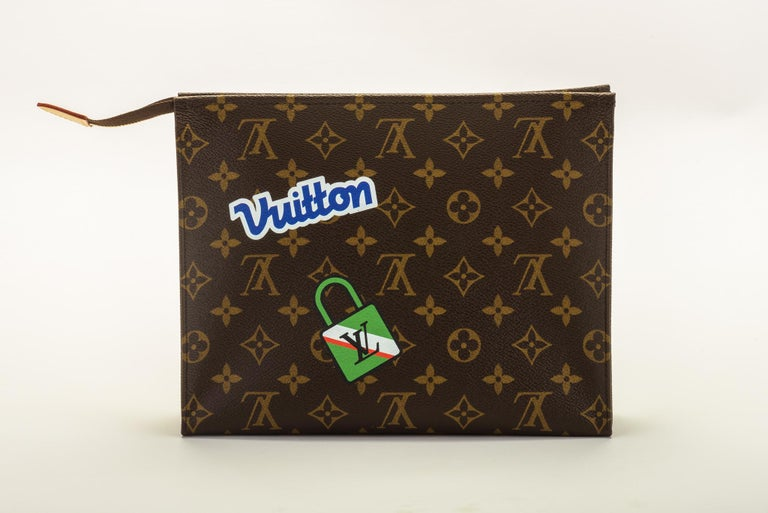 Black New in Box Louis Vuitton Limited Edition Stickers Pouchette Bag For Sale