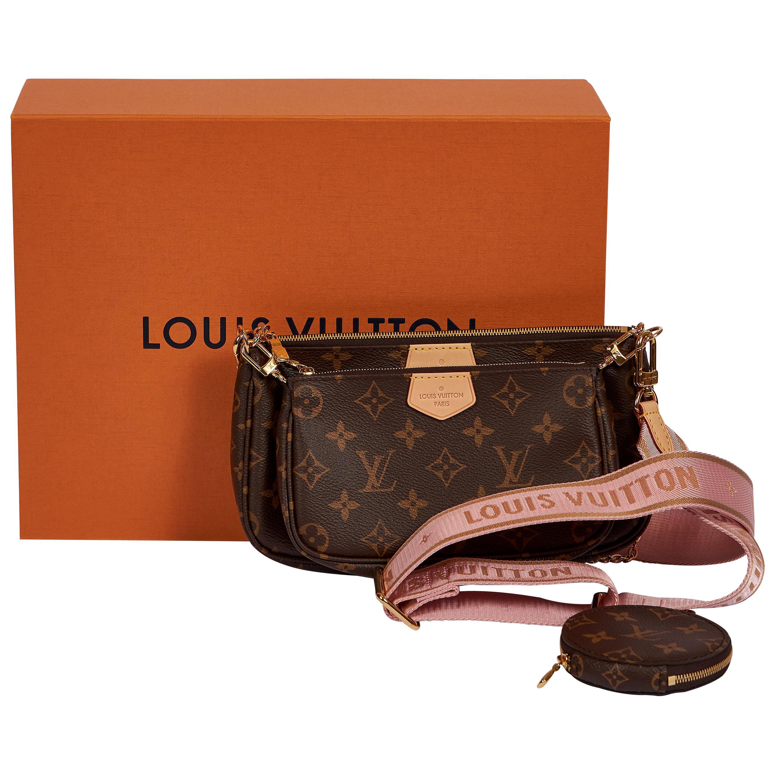 New in Box Louis Vuitton Multi Pink Pouchette Bag