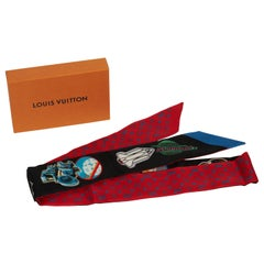 New in Box Louis Vuitton Silk  Rocket Ship Twilly Scarf