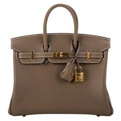 New in Box RARE Hermes Birkin 25 Etoupe Swift Gold Bag