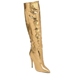 NEW in box Saint Laurent 110MM Abbey Metallic Python Tall Boots sz EU38