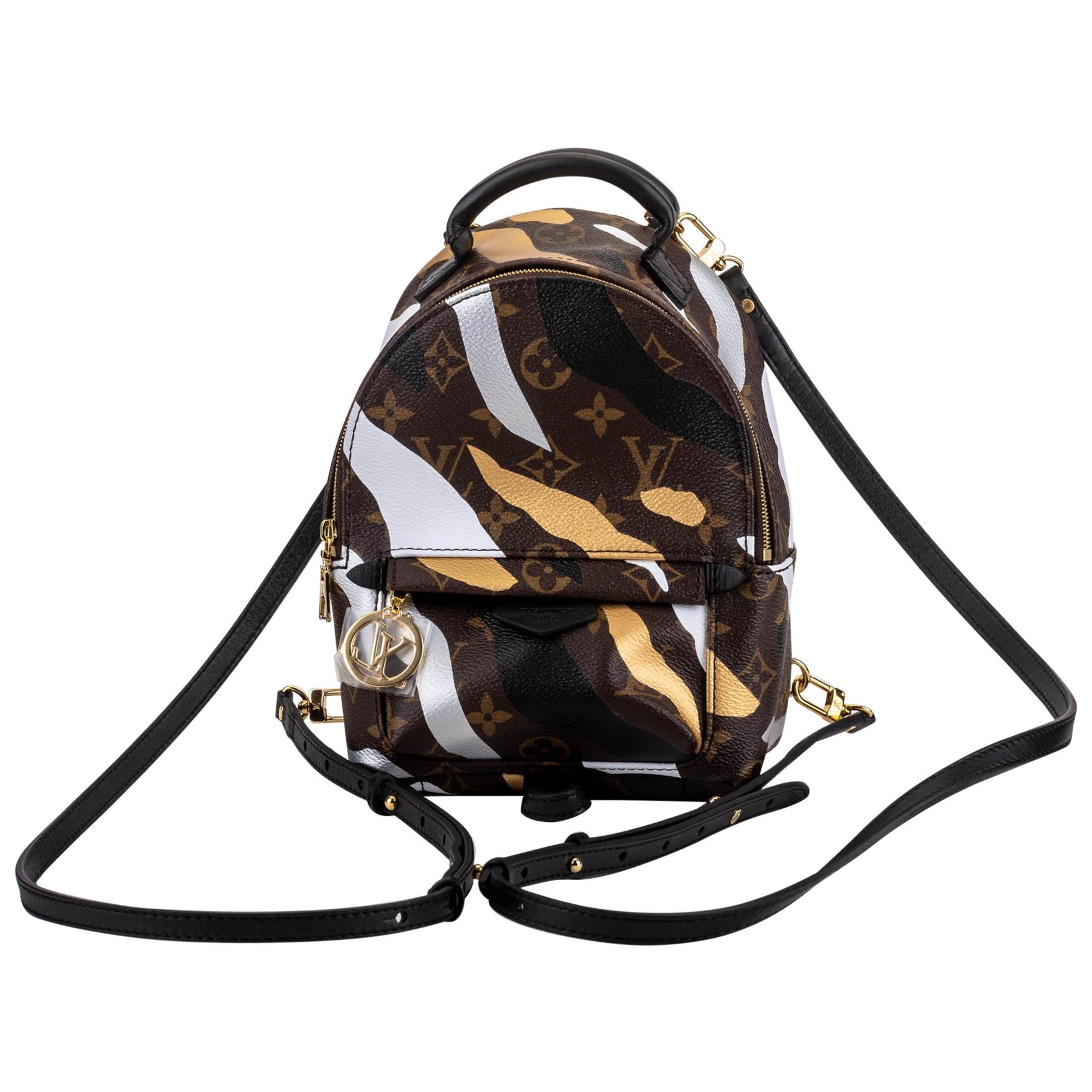 New in Box Vuitton Limited Edition Camo Mini Palm Springs Backpack Bag