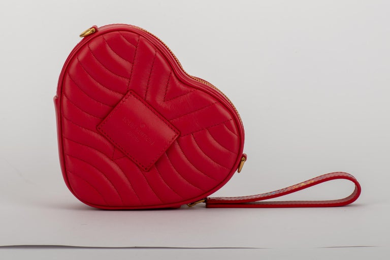 New in Box Vuitton Limited Edition Red Heart Charm Handbag Clutch Belt Bag In New Condition For Sale In West Hollywood, CA