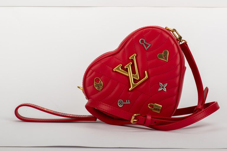 b3275adc2430 New in Box Vuitton Limited Edition Red Heart Charm Handbag Clutch Belt Bag  For Sale 1