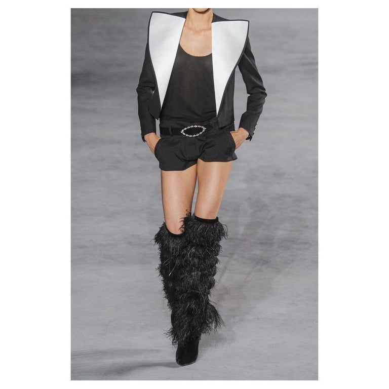 529b45bb NEW in box YSL Saint Laurent Yeti Feather Over the Knee Boots sz EU37