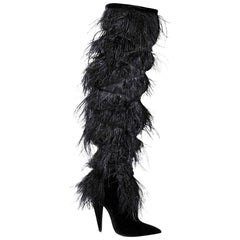 NEW in box YSL Saint Laurent Yeti Feather Over the Knee Boots sz EU37