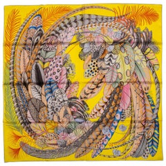 New inBox Hermes Yellow Feathers Silk Scarf