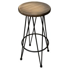 New Industrial Wrought Iron Shop Stool with Wood Seat