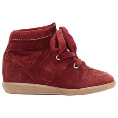 new ISABEL MARANT Bobby Burgundy suede lace up concealed wedge sneaker EU37