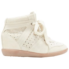 new ISABEL MARANT Bobby Chalk beige suede lace up concealed wedge sneaker EU36