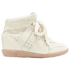 new ISABEL MARANT Bobby Chalk beige suede lace up concealed wedge sneaker EU37
