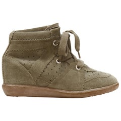 new ISABEL MARANT Bobby Taupe beige suede lace up concealed wedge sneaker EU38