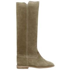 new ISABEL MARANT Cleave Taupe suede concealed wedge knee high western boot EU35