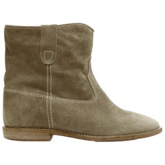 new ISABEL MARANT Crisi Taupe Olive suede concealed wedge western boots EU37