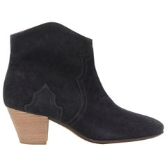 new ISABEL MARANT Dicker Faded Black suede cowboy western ankle boots EU38.5