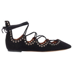 new ISABEL MARANT Leo black suede studded grommet lace up ballet flat shoes EU37