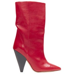 new ISABEL MARANT Lexing red leather pointed toe conical heel tall boots EU37