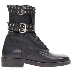new ISABEL MARANT Teylon black calf leather studded lace up combat boots EU38