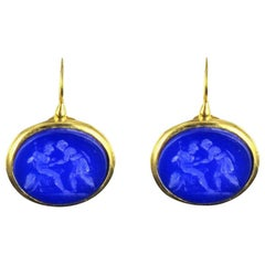 New Italian Blue Cameo Vermeil Drop Earrings
