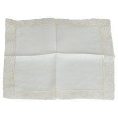 New Ivory Belgian Lace and Linen Wedding Handkerchief – Original Package, 1950s