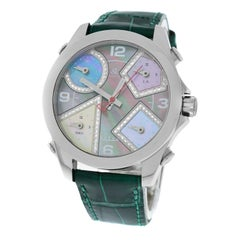 New Jacob & Co. Five 5 Time Zone Stainless Steel Diamond Dial Watch