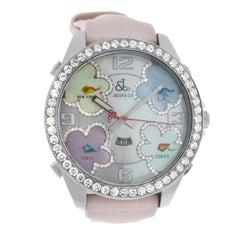 New Jacob & Co Five Time Zones 3.25 Carat Diamond Bezel Mother of Pearl Watch