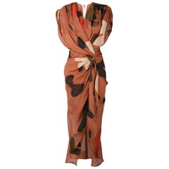 New Jacquemus 'La Robe Henri' Print Drape Midi Dress FR36 US 2-4