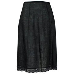 New Jacques Fath Paris Black Demi-Couture Linen A-Line Skirt - Medium, 1990s