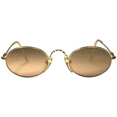 New Jean Paul Gaultier 55 0175 Oval Small Gold 1990's Made in Japan