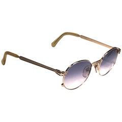 New Jean Paul Gaultier 55 3174 Oval Gold Fork Sunglasses 1990's Japan