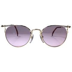 New Jean Paul Gaultier 55 3177 22k Gold Plated Sunglasses 1990's Japan