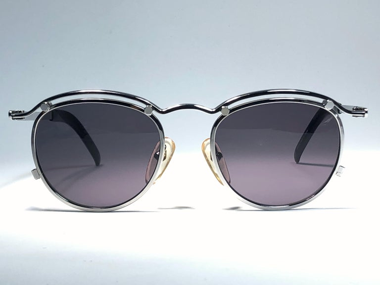 New Jean Paul Gaultier 56 1174 Round Gold Matte Frame 1990's Sunglasses Japan   In New Condition For Sale In Amsterdam, Noord Holland