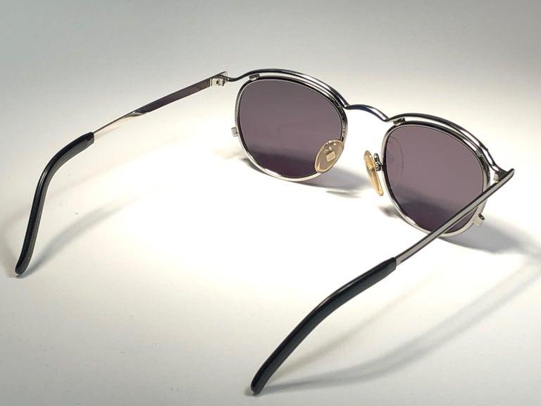 Women's or Men's New Jean Paul Gaultier 56 1174 Round Gold Matte Frame 1990's Sunglasses Japan   For Sale
