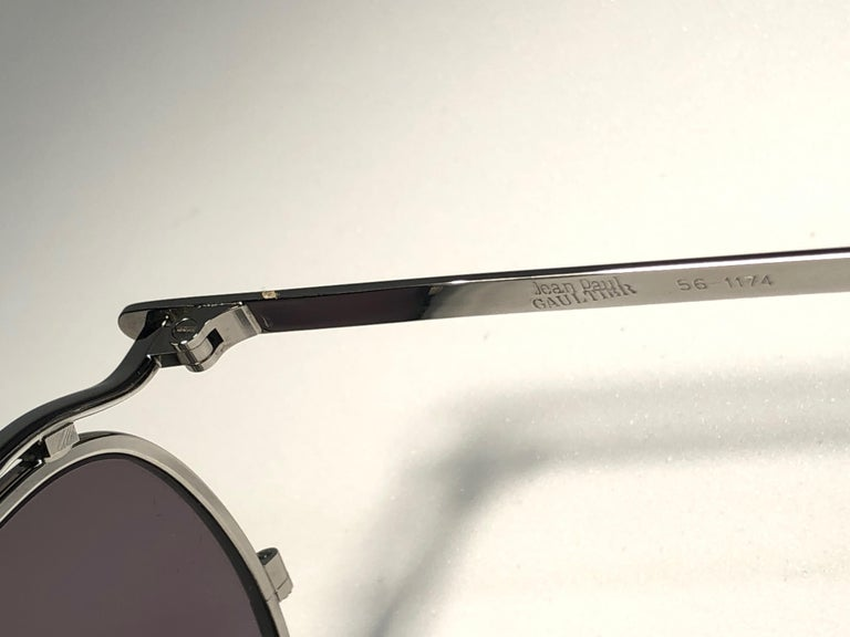 New Jean Paul Gaultier 56 1174 Round Gold Matte Frame 1990's Sunglasses Japan   For Sale 1
