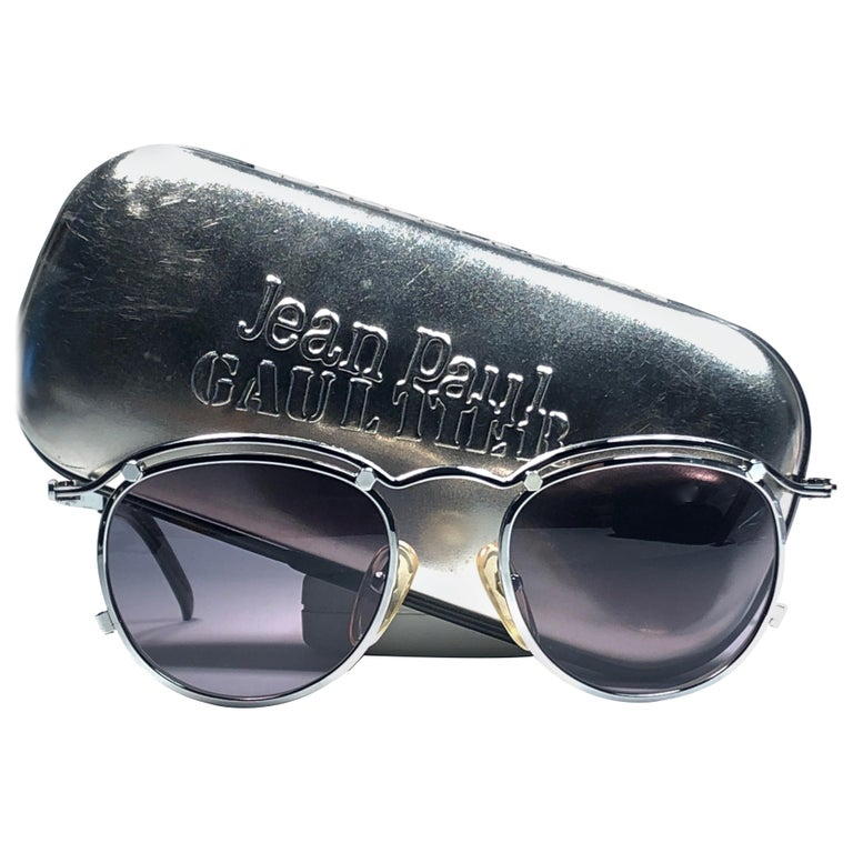 New Jean Paul Gaultier 56 1174 Round Gold Matte Frame 1990's Sunglasses Japan   For Sale