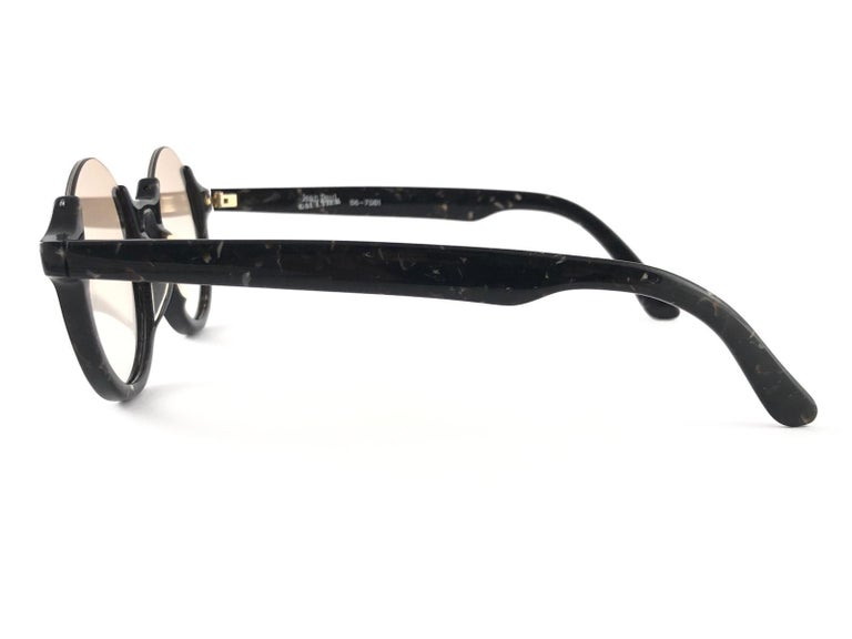 New Jean Paul Gaultier 56 7061 Round Marbled Flat Lenses 1990's JPG Sunglasses In Excellent Condition For Sale In Amsterdam, Noord Holland