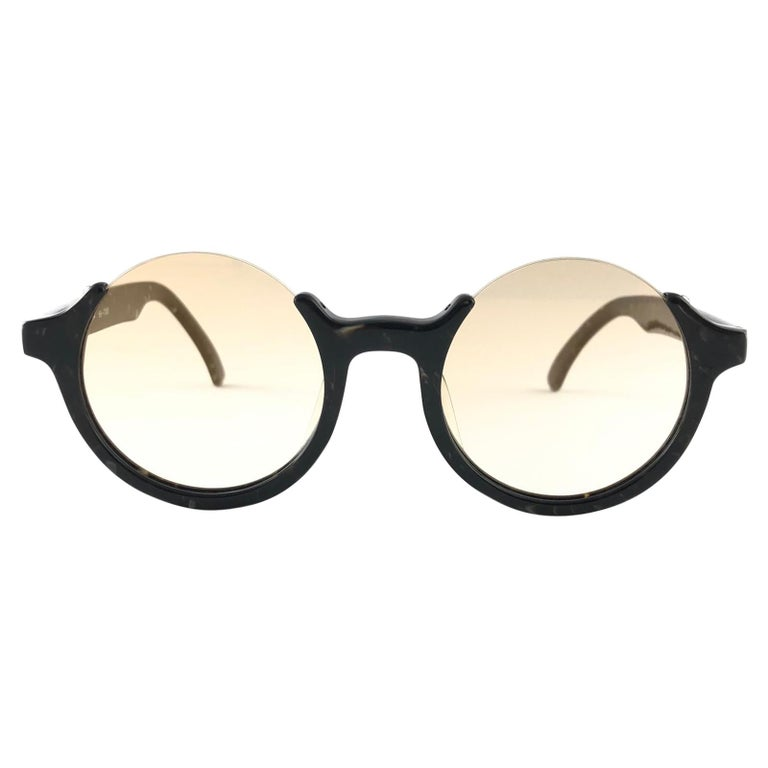 New Jean Paul Gaultier 56 7061 Round Marbled Flat Lenses 1990's JPG Sunglasses For Sale