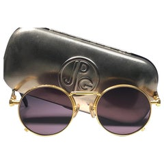 New Jean Paul Gaultier 56 8171 Round Gold Matte Frame 1990's Sunglasses Japan