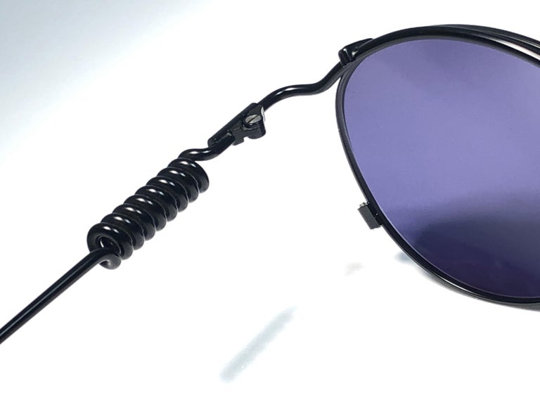 New Jean Paul Gaultier 56 9174 Black Detail Dark Blue Lens 1990's Japan In New Condition For Sale In Amsterdam, Noord Holland