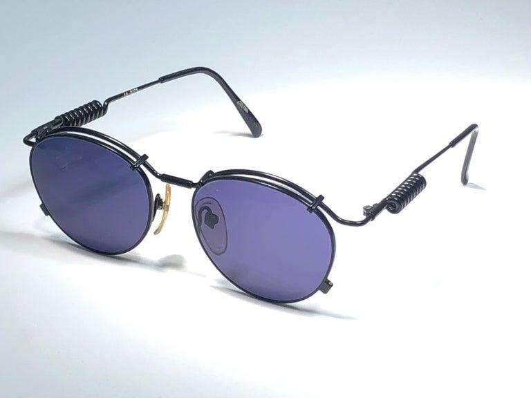 New Jean Paul Gaultier 56 9174 Black Detail Dark Blue Lens 1990's Japan For Sale 1