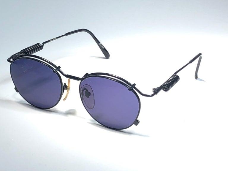 New Jean Paul Gaultier 56 9174 Black Detail Dark Blue Lens 1990's Japan For Sale 2
