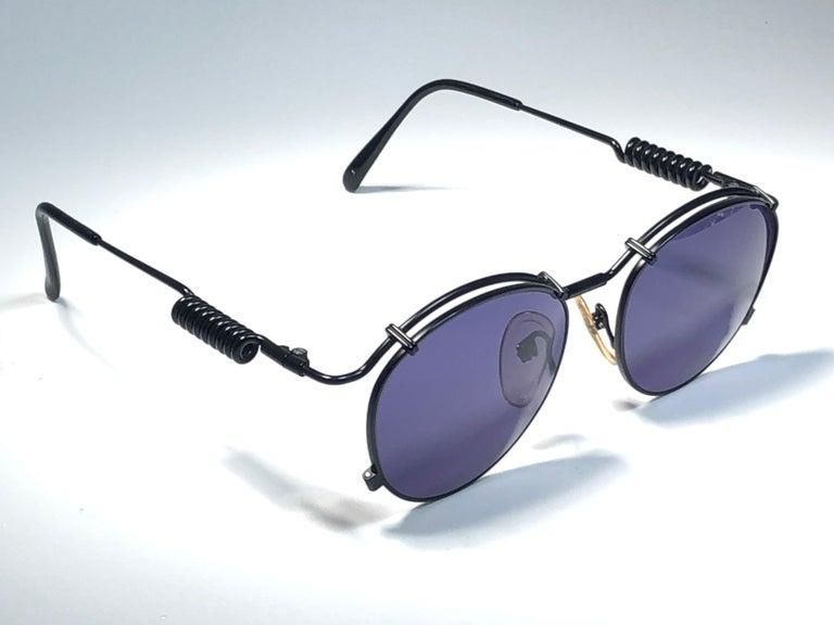 New Jean Paul Gaultier 56 9174 Black Detail Dark Blue Lens 1990's Japan For Sale 3