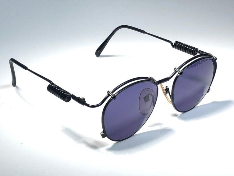 New Jean Paul Gaultier 56 9174 Black Detail Dark Blue Lens 1990's Japan For Sale 4