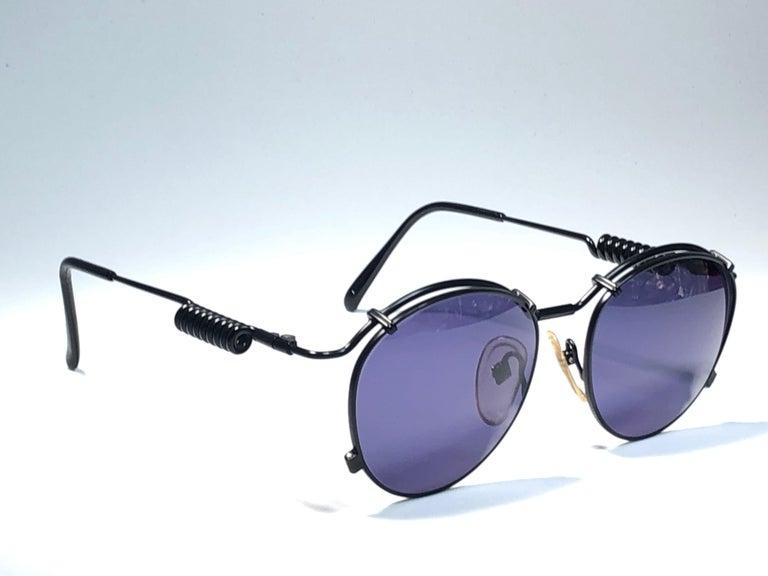 New Jean Paul Gaultier 56 9174 Black Detail Dark Blue Lens 1990's Japan For Sale 5