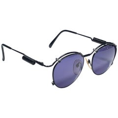 New Jean Paul Gaultier 56 9174 Black Detail Dark Blue Lens 1990's Japan