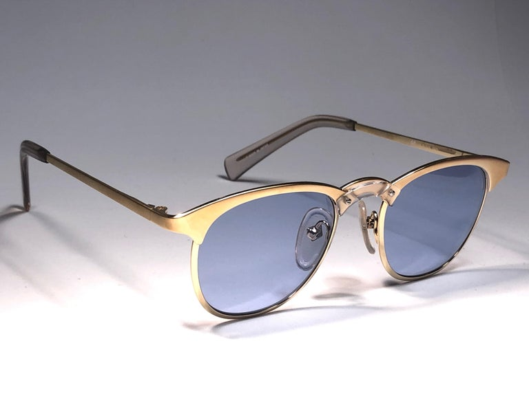 Gray New Jean Paul Gaultier 57 0174 Oval Gold Sunglasses 1990's Made in Japan  For Sale