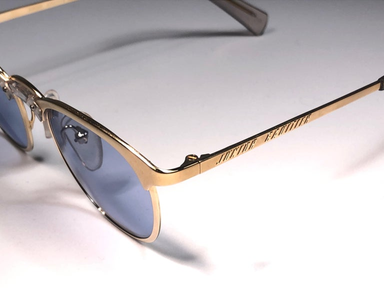 New Jean Paul Gaultier 57 0174 Oval Gold Sunglasses 1990's Made in Japan  In New Condition For Sale In Amsterdam, Noord Holland