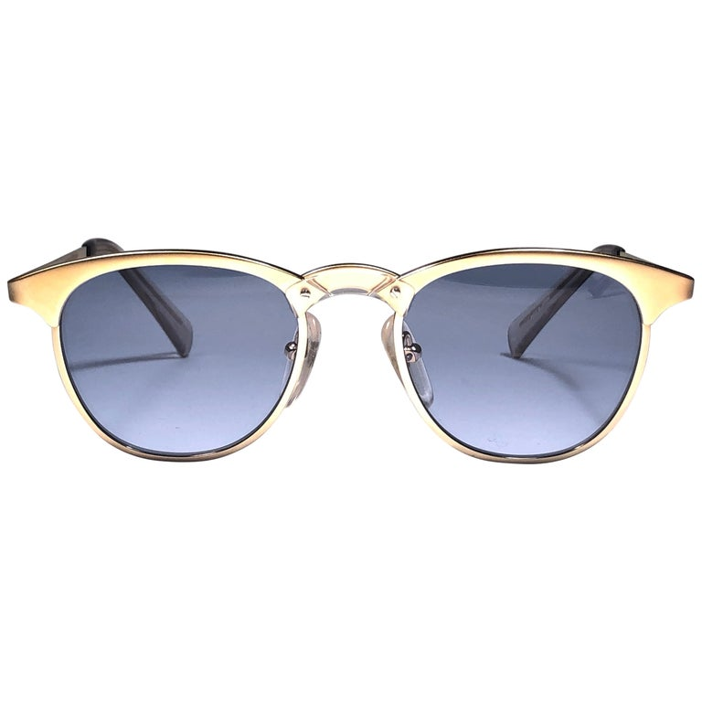 New Jean Paul Gaultier 57 0174 Oval Gold Sunglasses 1990's Made in Japan  For Sale