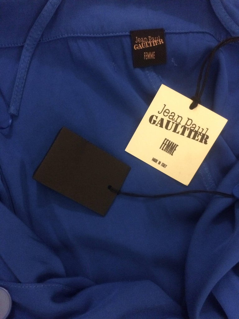 New Jean Paul Gaultier Femme Blue Trench Coat Maxi Dress For Sale 2