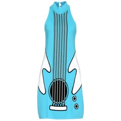 New Jeremy Scott (from Moschino ) 2016 Runway Katy Perry Blue Guitar Dress IT42